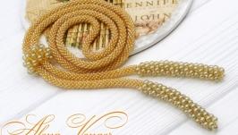 Лариат ′Пшеничный′ галстук жгут хрусталь золотистый