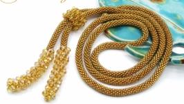 Лариат ′Антик золото′ галстук жгут хрусталь золотистый