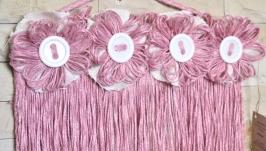 Панно розовый декор для комнаты, для дома. Панно из розового джута