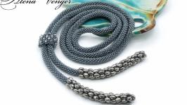 Лариат ′Гематитовый′ галстук жгут хрусталь серый