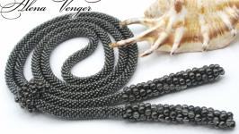 Лариат ′Антрацит′ галстук жгут хрусталь серый черный