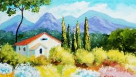 Картина ′Яркие краски Тосканы′ Оригинальная на холсте на подрамнике