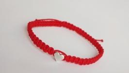 Плетеный браслет-оберег (красная нитка) ′Heart′