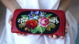 Гаманець ′Весна′ в червоній шкірі