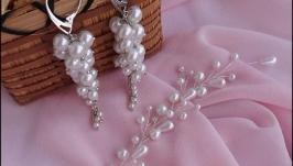 Нежная комплект для невесты из керамического жемчуга