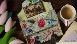 ключница с птичками и кармашком для писем и счетов