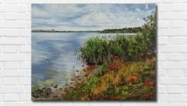Картина маслом ′Маки у реки′ 35х45 см, холст на подрамнике, масло