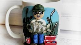 Подарокчная кружка (чашка) в подарок рыбаку на день рождения
