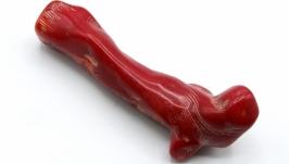 Подвеска коралл веточка КВ-2 фриформ кулон натуральный камень красный