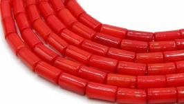 Коралл нить бусины трубочки палочки цилиндр натуральный красный