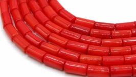 Коралл бусины поштучно трубочки палочки цилиндр натуральный красный