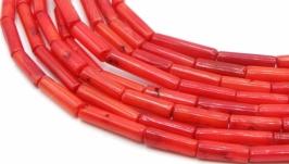 Коралл нить бусины длинные трубочки палочки цилиндр натуральный красный