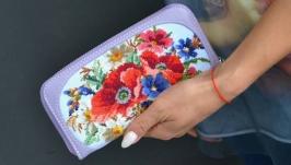 Гаманець ′Польові квіти′ в бузковій шкірі