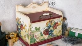 Хлебница деревянная «Летние цветы». Продана.