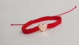 Детский плетеный браслет-оберег (красная нитка) ′PinkHeart′