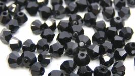Биконусы 10 шт хрустальные бусины 3.5х3 мм черный