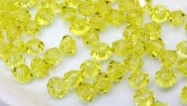 Биконусы 10 шт хрустальные бусины 3.5х3 мм желтый