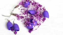 Ожерелье и серьги из коконов шелкопряда ′Сиреневый водопад ′