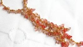 Ожерелье, браслет, серьги из розового кварца и родохрозита