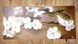 Картина маслом, ветка цветущей вишни
