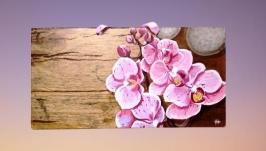 Картина маслом, розовые цветы