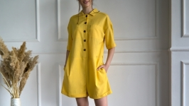 Yellow Linen women′s jumpsuit with pockets and belt