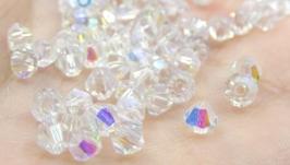 Биконусы 10 шт хрустальные бусины 4х3 мм белый кристалл АВ
