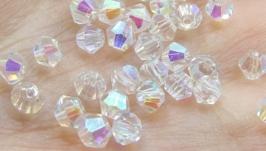 Биконусы 10 шт хрустальные бусины 4х3.5 мм белый кристалл АВ
