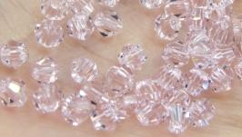 Биконусы 10 шт хрустальные бусины 4х3.5 мм розовый