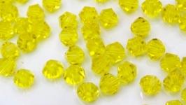 Биконусы 10 шт хрустальные бусины 4х3.5 мм желтый