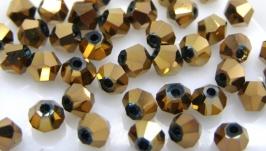 Биконусы 10 шт хрустальные бусины 4х3.5 мм золотой