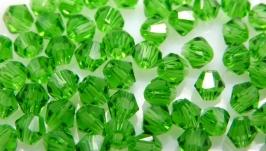 Биконусы 10 шт хрустальные бусины 4х3.5 мм зеленый