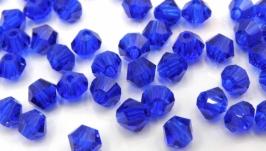 Биконусы 10 шт хрустальные бусины 4х3.5 мм синий