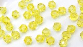 Биконусы 10 шт хрустальные бусины 4.5х3.5 мм желтый