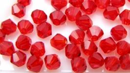 Биконусы 10 шт хрустальные бусины 4.5х3.5 мм красный