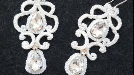 Кружевные серьги (свадебные, праздничные) ′Garret′