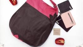 Сумка - мешок из натуральной кожи ′Паприка′ (бордо с розовым)