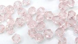 Биконусы 10 шт хрустальные бусины 4.5х4 мм розовый