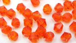 Биконусы 10 шт хрустальные бусины 4.5х4 мм оранжевый красный