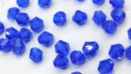 Биконусы 10 шт хрустальные бусины 4.5х4 мм синий
