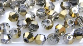Биконусы 10 шт хрустальные бусины 4.5х4 мм золотой