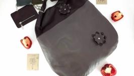 Большая кожаная сумка - мешок ′Паприка′ (серая с бордо)