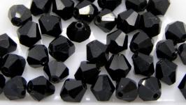 Биконусы 10 шт хрустальные бусины 5х5 мм черный