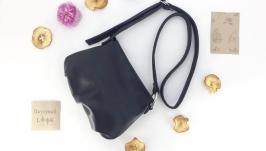 Женская кожаная сумка ′Сушка′ (синяя)