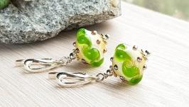 Серьги серебрянные Зеленая волна
