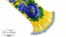 Гердан в украинском стиле Голубые маки