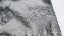 Валяный палантин, накидка ′Серебряный лес′