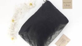 Повседневная кожаная сумка ′Соль′ (черный блестящий)