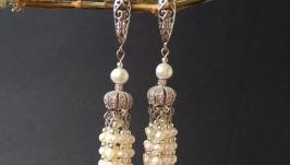 Сережки з міні перлинами