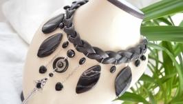 Колье на коже из черных агатов  ′Черный лотос′